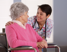 elder patient with staff